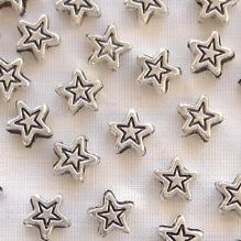 Silver Plated 5mm Star Beads - 20